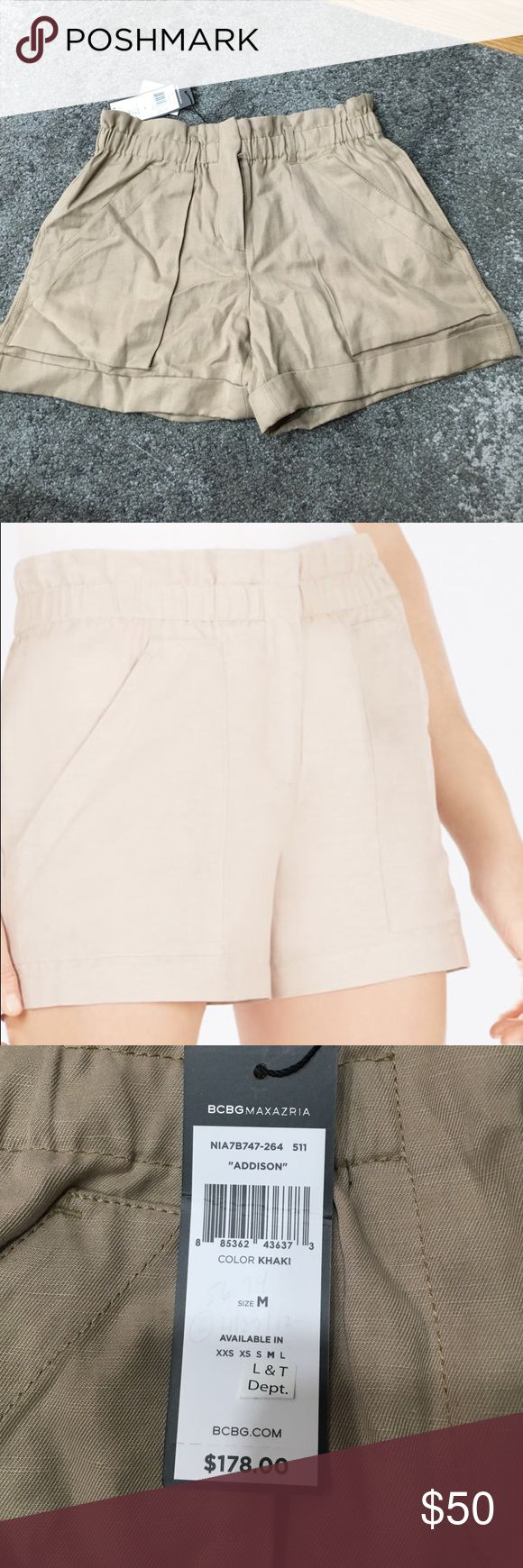 ✨NWT Bcbg Maxazria Addison khaki Shorts Brand new Bcbg Maxazria Addison shorts in khaki. A little wrinkled from storage but in perfect brand new condition with tags. Bought from Lord and Taylor. The second picture is for reference of shorts on a person. BCBGMaxAzria Shorts
