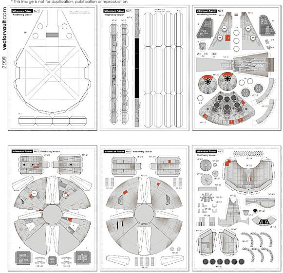 Free Download - Star Wars Millennium Falcon 3D Paper Toy (Files Preview)