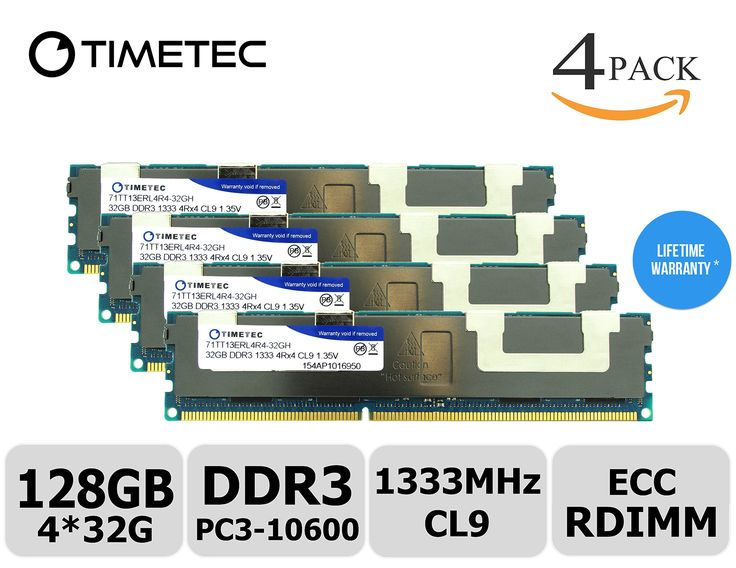 Timetec (Hynix IC H5TC8G43AMR-PBA) 1333MHz DDR3L PC3L-10600 ECC Registered 1.35V 240-Pin RDIMM CL9 Quad 4 Rank 4Rx4 1024x4 In-Line Server Memory Module Upgrade (128GB Kit (4x32GB))