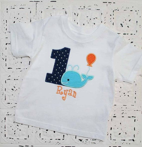 Personalized Little Blue Whale First, Second, Third Birthday Shirt with  Balloon, Monogrammed-- All Birthday numbers Available. $28.00, via Etsy.