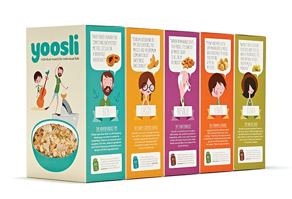 Branding and packaging for custom muesli brand Yoosli created by Together Design.