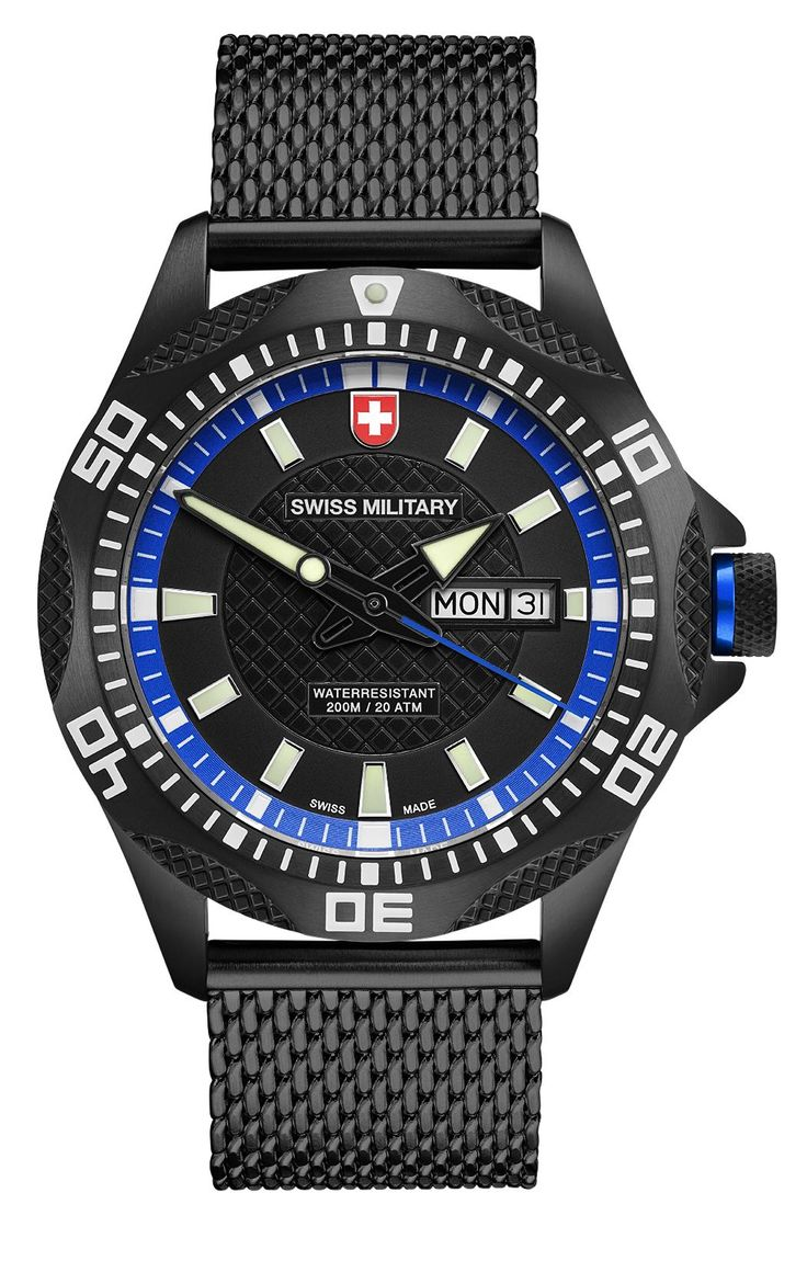 M's SWISS MILITARY day/date watch TANK NERO, Ronda cal. 517 Swiss Made quartz mvt., black/blue dial, black PVD stainless steel case/mesh bracelet, screw-down crown, sapphire crystal, 20atm / 200m water resistance, black PVD plated stainless steel bracelet, width 22mm, with double pusher butterfly buckle, case: 44 mm, weight: 148gr. rrp = USD 722