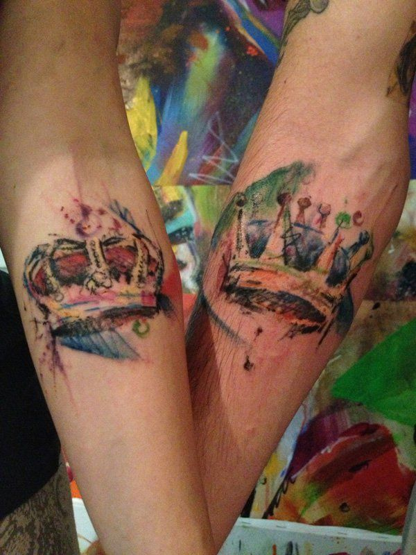 Watercolor Crown Tattoo - 50 Meaningful Crown Tattoos
