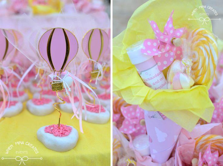 μπομπονιέρα αερόστατο , παιδική μπομπονιέρα βάπτισης