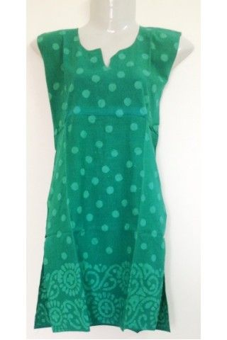#CottonKurti - Polka Dot Printed #Sea #Green