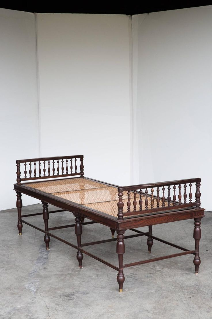 Indian wooden furniture bed - Anglo Indian Rosewood Daybed With Caning Colonial Furniturewooden