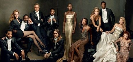 Vanity Fair's Hollywood issue: Vanity Fair's Hollywood Issue fold-out cover in full: (from left) Chiwetel Ejiofor, Julia Roberts, Idris Elba, George Clooney, Michael B. Jordan, Jared Leto, Lupita Nyong'o, Naomie Harris, Brie Larson, Chadwick Boseman, Margot Robbie, Lea Seydoux (Pic: Vanity Fair)