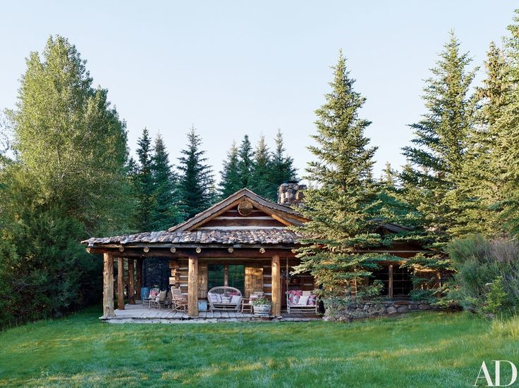 Blue Pony, one of five guest cabins at Lauren's Double RL Ranch in Colorado, was built using century-old hand-hewn logs from Montana   archdigest.com