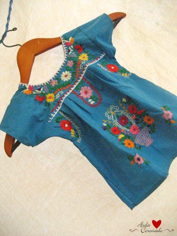 Beautiful handmade Mexican embroidered tunic dress // AidaCoronado