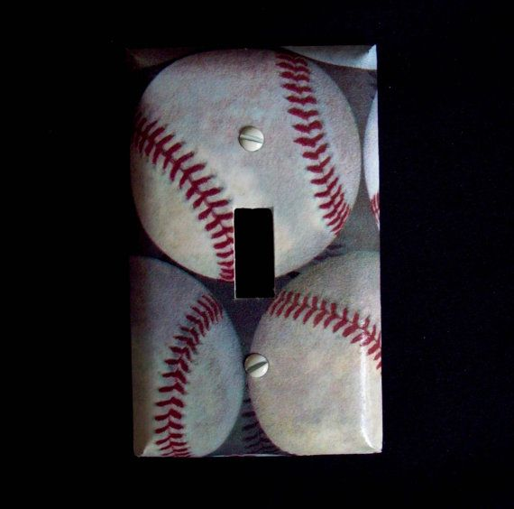 Baseball Light Switch Cover Baseballs Plate Boys Bedroom Decor Sports Room