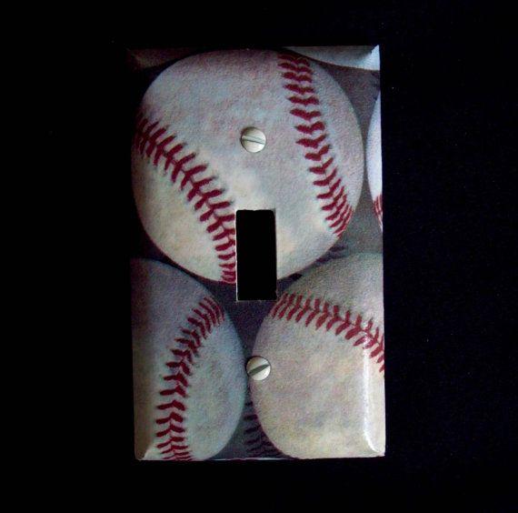 Baseball Light Switch Cover Baseballs Plate Boys Bedroom Decor Sports Room
