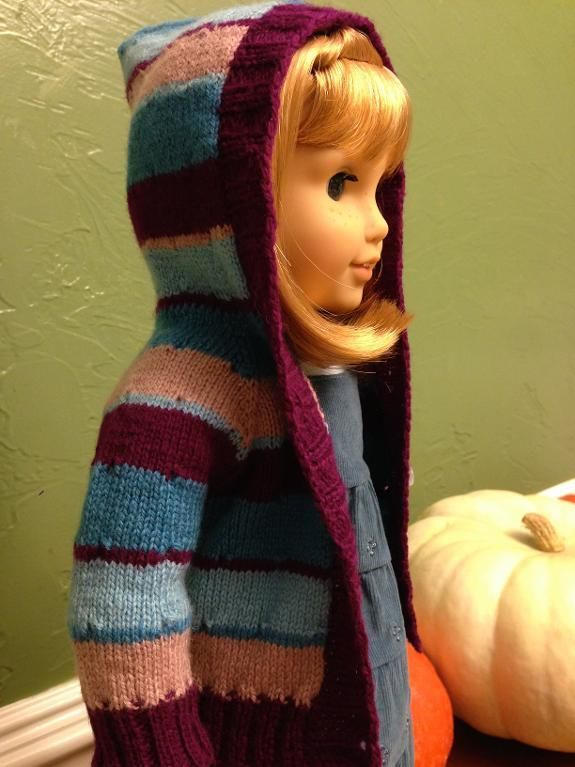 Knitting: American girl doll hoodie. I really like the colors of this. Good stash using project.