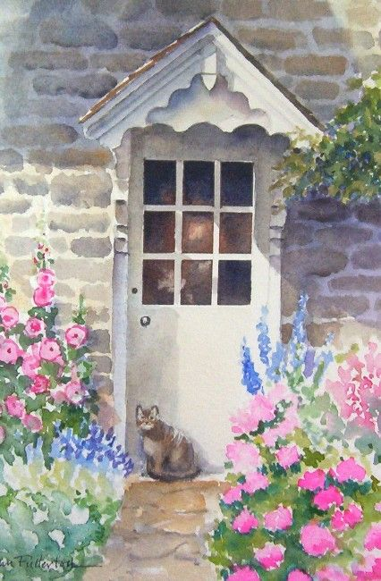 3239 best water color images on pinterest for Watercolor cottages