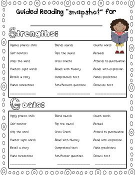 "Free: Guided Reading ""Snapshot"" Assessment"