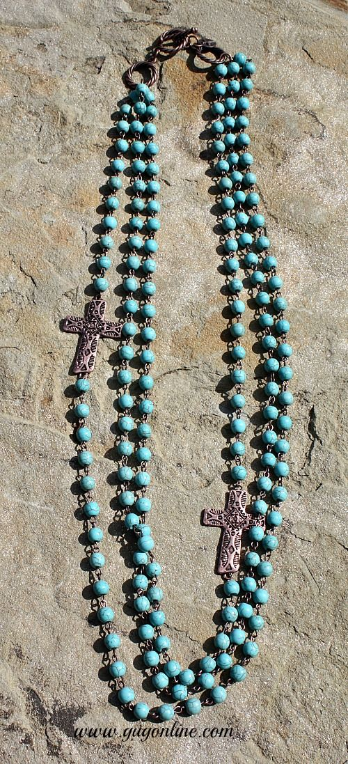 Three Stranded Turquoise Necklace with Printed Copper Crosses  www.gugonline.com
