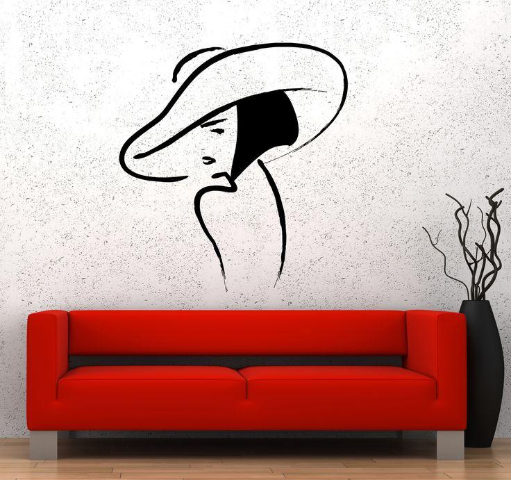 Wall Sticker Vinyl Decal Beautiful Girl Hat Fashion Beauty Woman (ed473)