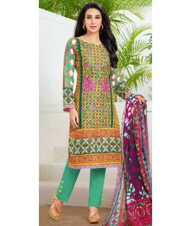 Graceful Green And Multi-Color Pashmina Straight Suit.