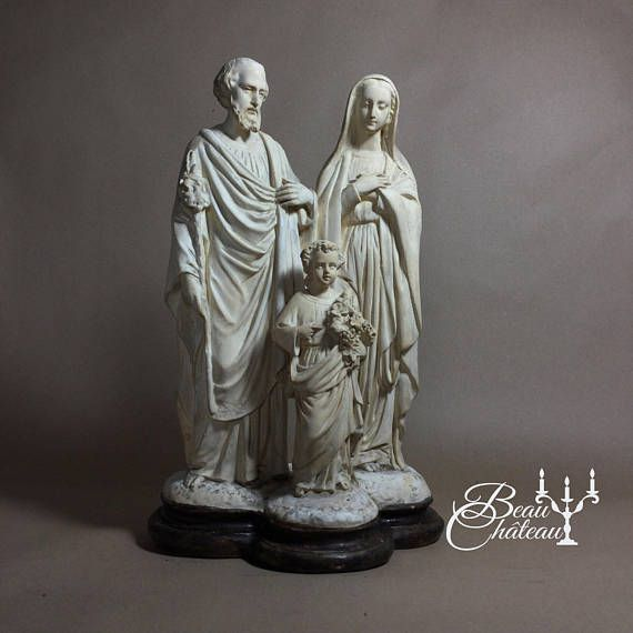 Large Holy Family Antique French sculpture statue of Jesus Child Mary Joseph Chalkware