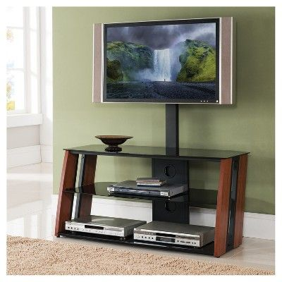 glass 24 tv stand with mount u2013 mahogany home source industries brown