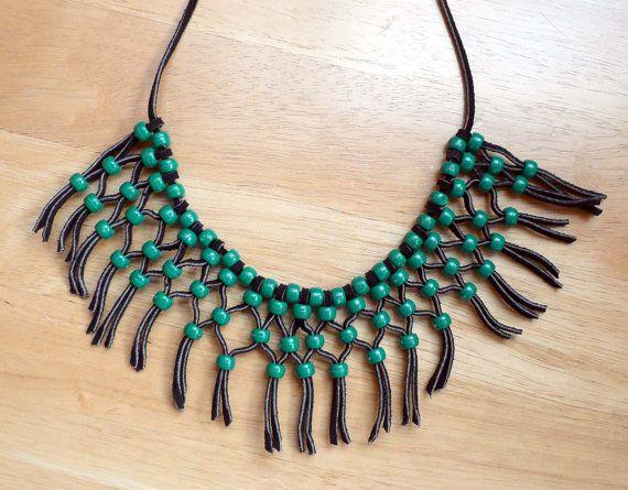 1970s Hippie Macrame Necklace Green Beads & от BlueberrySkyVintage, $11.00
