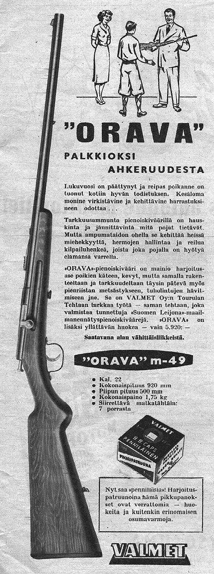 Valmetin pienoiskiväärin mainos vuodelta 1952