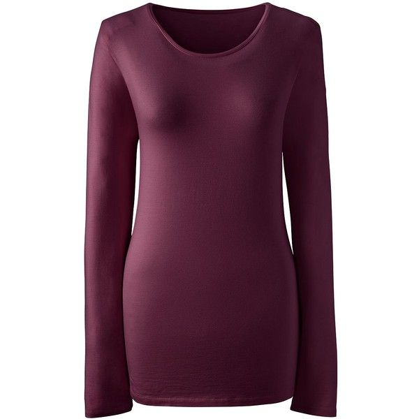 Lands' End Women's Petite Shaped Layering Crewneck T-shirt ($26) ❤ liked on Polyvore featuring tops, t-shirts, red, petite tee, longsleeve t shirts, purple long sleeve t shirt, petite tops and long sleeve tees