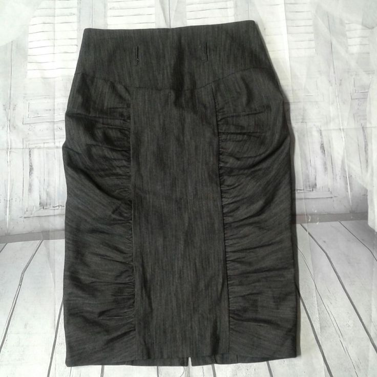 Charlotte Russe Womens Skirt Pencil Straight Ruched Stretch Size Medium Gray USA #CharlotteRusse #StretchKnit #Career