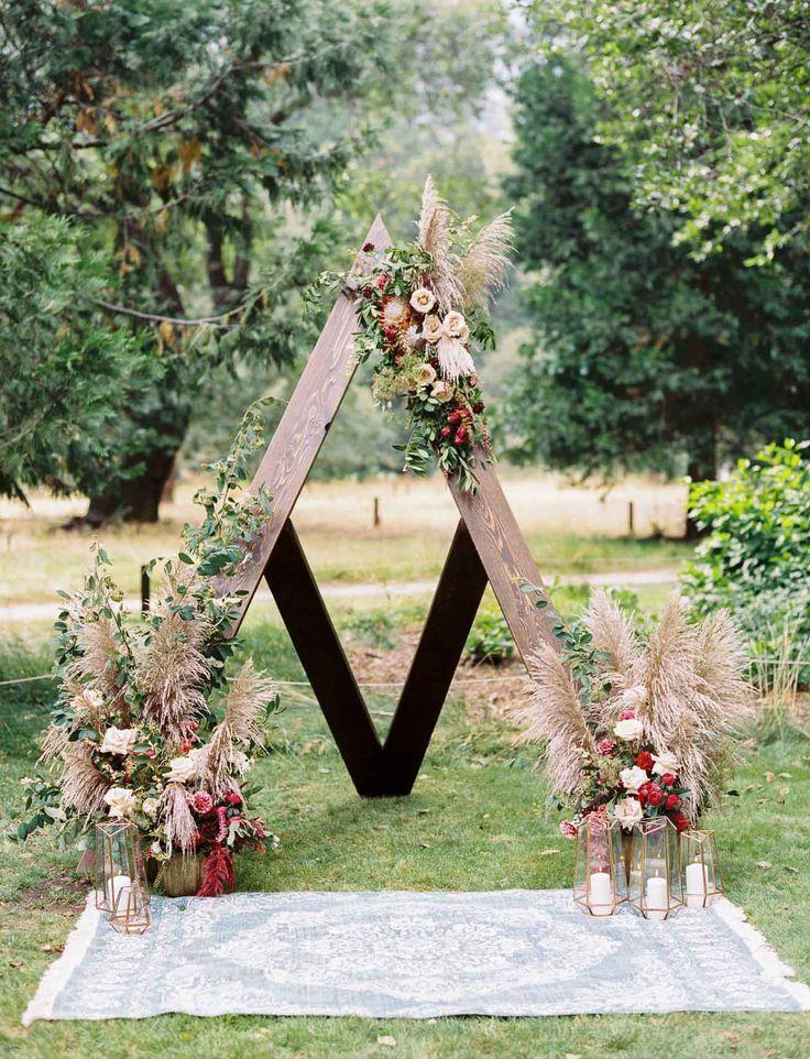 boho outdoor wedding triangle rustic yosemite nature backdrop