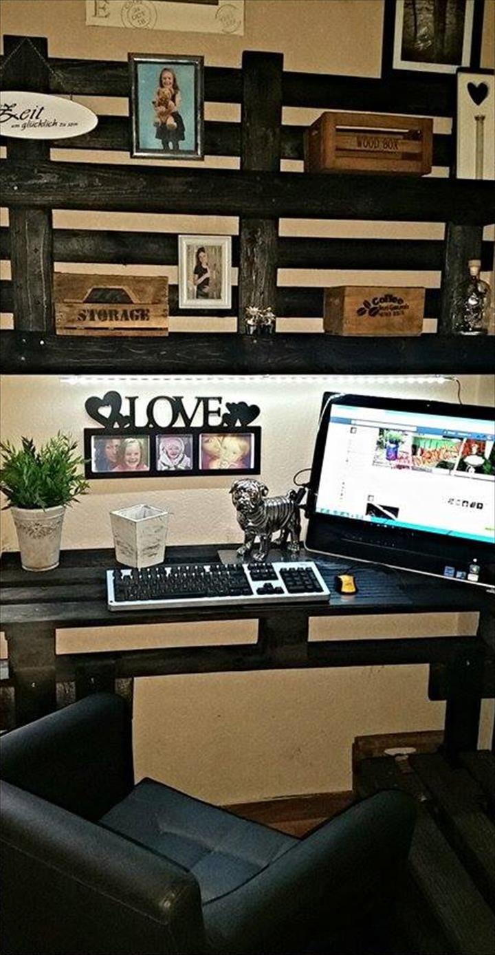 DIY Pallet Computer Desk with Wall Shelf 101 Pallet