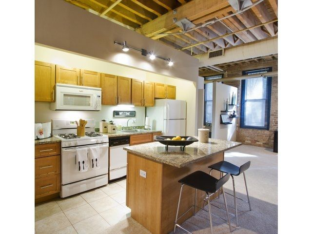 Large Kitchen With Upgraded Appliances And Open Floor Plan. Cobbler Square  Loft Apartments In Old