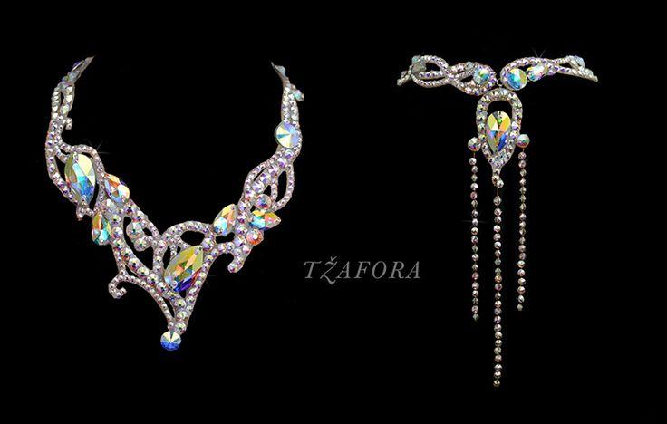Swarovski ballroom necklace. Ballroom jewelry, ballroom accessories. www.tzafora.com Copyright © 2015 Tzafora. Handmade in Canada.