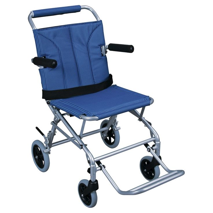 Drive Medical Super Light Folding Transport Wheelchair with Carry Bag, Blue