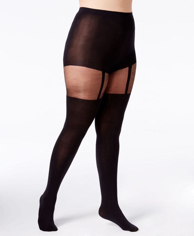 A little naughty, a little nice. Slip on these opaque-sheer tights from Pretty Polly featuring discrete and sassy suspenders. Only you know there's more to show than meets the eye. | 93% nylon/6% elas