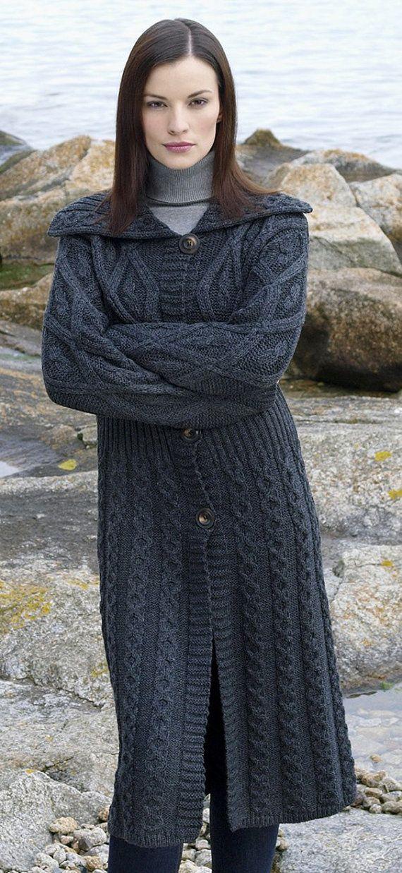 Hand knit aran cable coat, BANDofTAILORS, Etsy