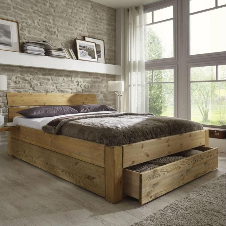 doppelbett bett gestell mit schubladen 180x200 kiefer massiv holz gelaugt ge lt schlafzimmer. Black Bedroom Furniture Sets. Home Design Ideas