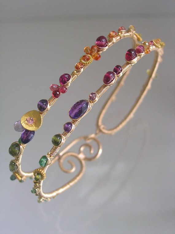Wide Wire Wrapped Bracelet, Colorful Gemstone Bangle, Cosmopolitan Jewelry, Sapphire, Amethyst, Ruby, Tsavorite, Original Design, Signature                                                                                                                                                                                 Más
