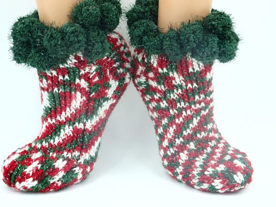 Beautiful Christmas gift for sister or teacher crocheted footwear cozy and comfortable slippers