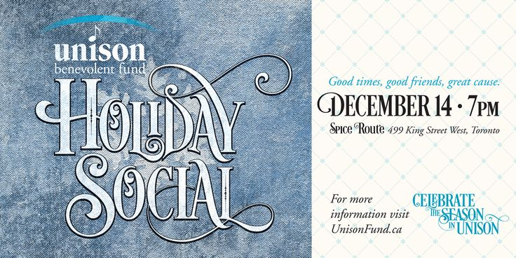 Celebrate the Season in Unison! The Unison Holiday Social is a chance to celebrate the season with notable Canadian music professionals and artists at Toronto's chic Spice Route Bistro+Bar. No potluck offering or Secret Santa gift required! Your $25 ticket goes to support Unison's programs for members of our community in their times of crisis. @UnisonFund http://ow.ly/UpZVq #christmas #party #unison #cdnmusician