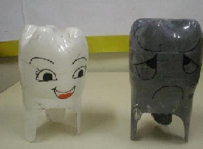 tanden: goede en slechte tand, poppenspel: slechte tand is verdrietig, hij wil ook mooi wit zijn: tanden poetsen, wordt hij beter