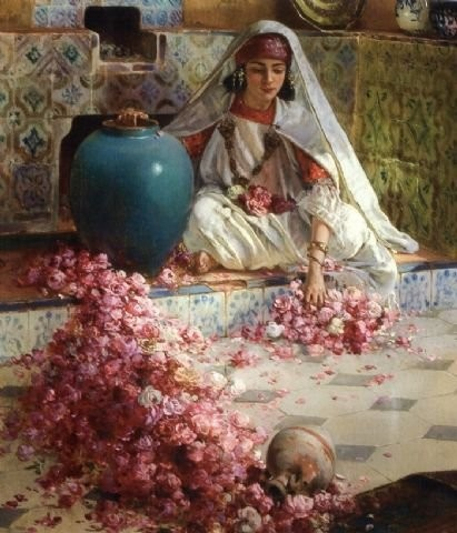 JARRE TURQUOISE Nasreddine Dinet (born as Alphonse-Étienne Dinet on Mar 28, 1861–Dec 24, 1929, Paris) was a French orientalist painter. In 1903 he bought a house in Bou Saâda (Algeria) and spent three quarters of each year there. He announced his conversion to Islam in a private letter of 1908, and completed his formal conversion in 1913, upon which he changed his name to Nasr'Eddine Dinet. Dinet's understanding of Arab culture and language set him apart from other orientalist artists.