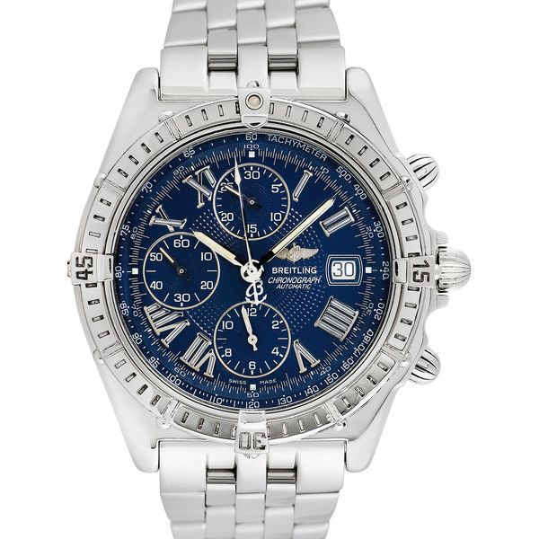 Breitling Men's Vintage Breitling Crosswind Watch, 42mm - Blue (4,500 CAD) ❤ liked on Polyvore featuring men's fashion, men's jewelry, men's watches, blue, stainless steel mens watches, mens watches jewelry, vintage mens watches, mens blue dial watches and breitling mens watches