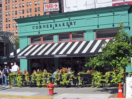 Great use of color, awning, and compact sidewalk dining