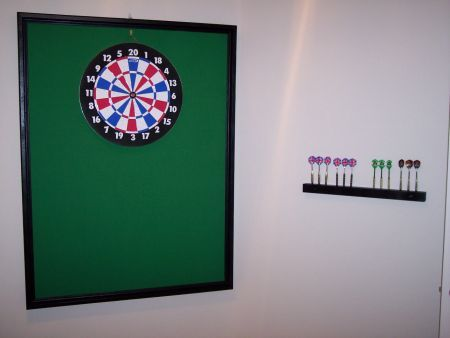 For dartboard backdrop - Players miss low more often than high.  Hang board near top of backdrop, not centered.