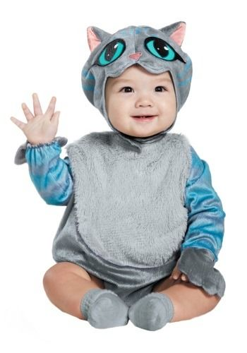 This infant onesie costume is designed after the Cheshire cat from Disney's Alice in Wonderland.