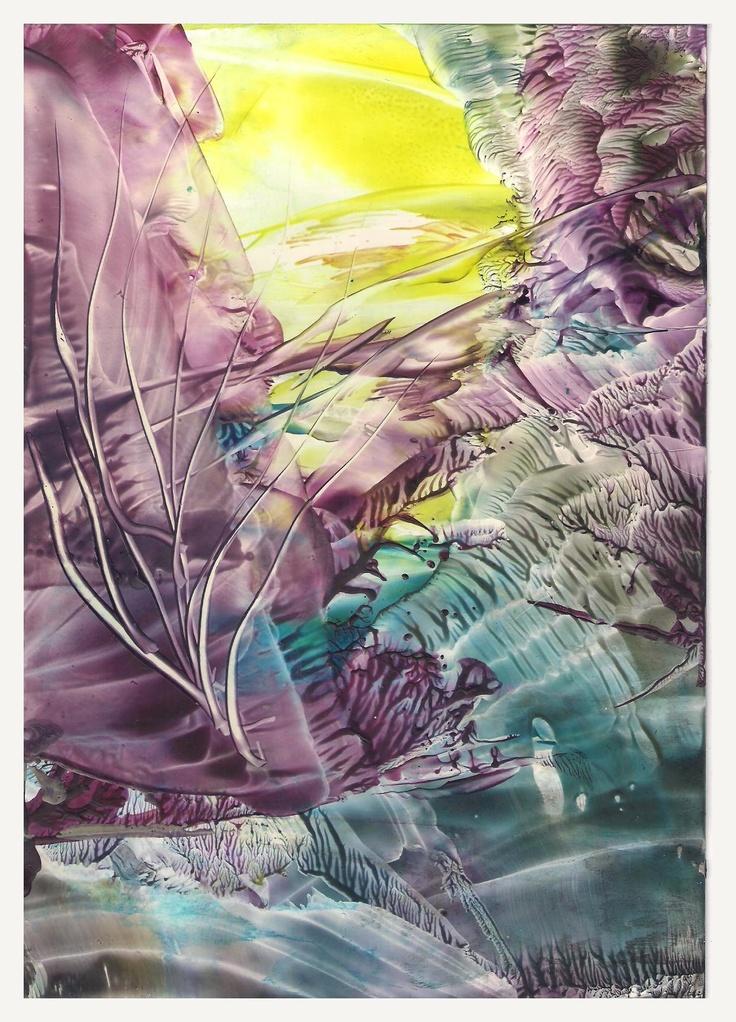 Wild - Encaustic art wax fantasy landscape painting.