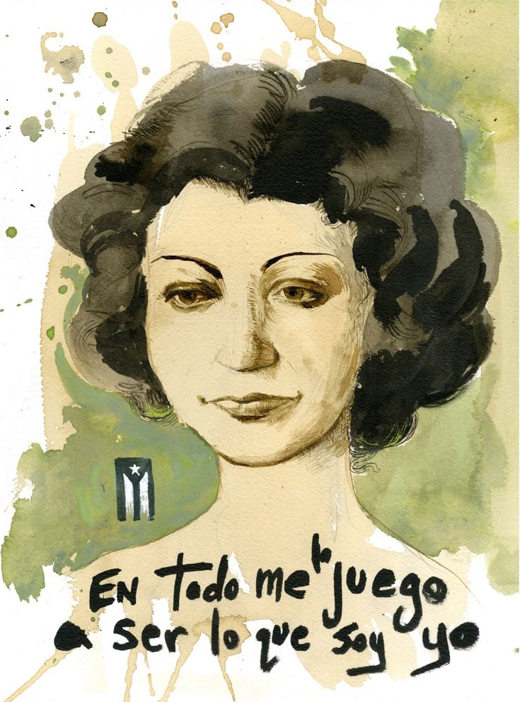 """Portrait of Puerto Rican poet Julia de Burgos, with one of her most famous lines. """"I gamble everything to be what I am.""""  Giclee 17″ x 22″ print with archival ink on Canson Fine Art acid-free paper. This is a second edition run of 25, signed and numbered.  Half the proceeds go towards supporting Proyecto de Apoyo Mutuo Mariana, which provides daily free meals, children's classes, wifi and a weekly health clinic to Barrio Mariana, a small town in Eastern Puerto Rico.   Continue ..."""