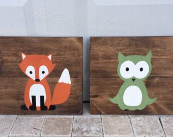Baby Animal Paintings Woodland Paintings by AmbersWoodenBoutique