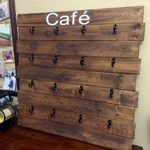 16 cup Coffee Mug Rack, Pallet Rack, Customize, Personalize Kitchen Decor, Mug…