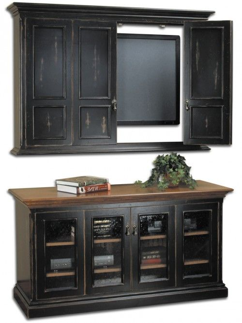 Hillsboro Flat Screen TV Wall Cabinet & Console, Antique Brass Teardrop Pulls, Black
