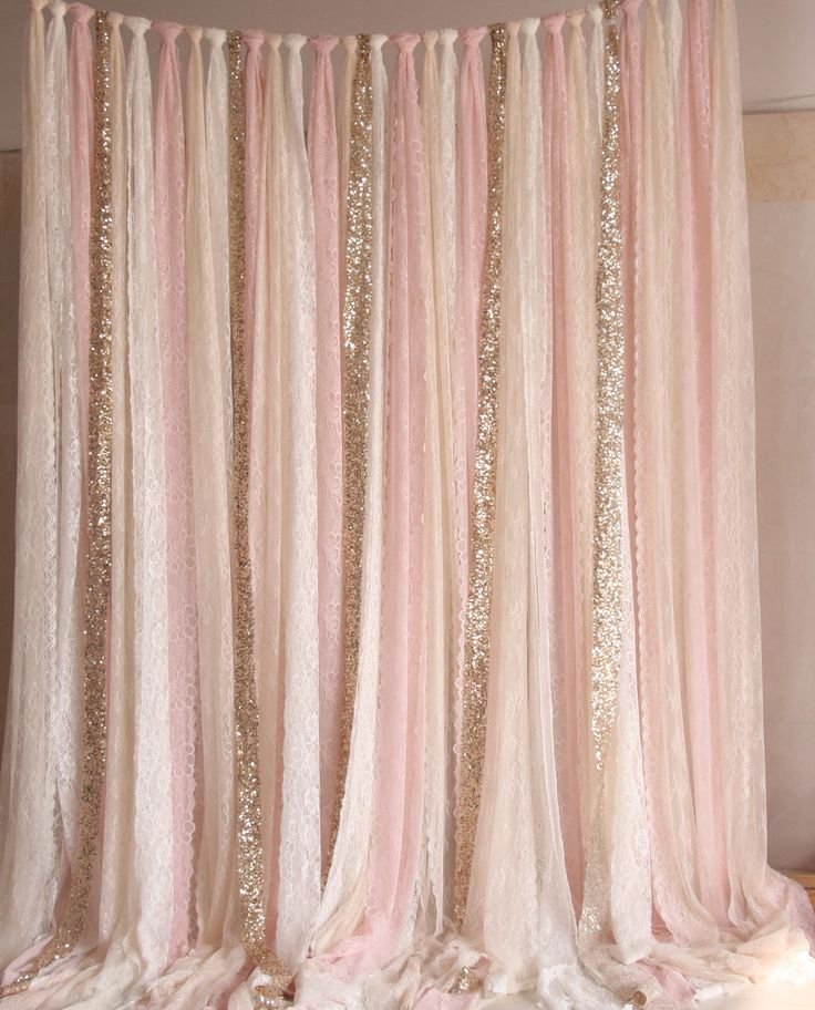 Blush Pink White Lace Fabric Gold Sparkle Photobooth Backdrop Wedding Ceremony Stage Birthday Baby Shower Party Curtain Nursery